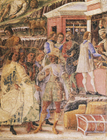 0330402 © Granger - Historical Picture ArchiveART & ARCHITECTURE.   Group of merchants, detail from Triumph of Mercury, scene from Month of June, ca 1470, attributed to Master Occhi Spalancati (active 15th century), fresco, north wall, Hall of the Months, Palazzo Schifanoia (Palace of Joy), Ferrara, Emilia-Romagna . Italy, 15th century. Full credit: De Agostini / A. De Gregorio / Granger, NYC -- All rig
