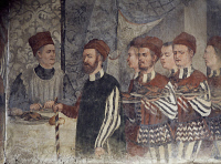 0330483 © Granger - Historical Picture ArchiveART & ARCHITECTURE.   Head chef and servants of Malpaga Castle, fresco attributed to Marcello Fogolino (1480-1548). Baronial Hall of Malpaga Castle, Cavernago, Bergamo. Italy, 15th century. Full credit: De Agostini Picture Library / Granger, NYC -- All Rights Reserved.