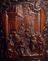 0330563 © Granger - Historical Picture ArchiveART & ARCHITECTURE.   Human face, detail from an 18th century confessional, by Andrea Fantoni (1659-1734). Santa Maria Maggiore Basilica, Bergamo. Italy, 17th century. Full credit: De Agostini / A. De Gregorio / Granger, NYC -- All rights r
