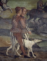 0330568 © Granger - Historical Picture ArchiveART & ARCHITECTURE.   Hunting party organized by Bartolomeo Colleoni for King Christian of Denmark, detail from a fresco attributed to Marcello Fogolino (1480-1548). Baronial Hall of Malpaga Castle, Cavernago, Bergamo. Italy, 16th century. Full credit: De Agostini Picture Library / Granger, NYC -- All Rights Reserved.