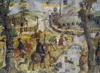 0330573 © Granger - Historical Picture ArchiveART & ARCHITECTURE.   Hunting scene, ca 1548, by Marcello Fogolino (born between 1483-1488, died 1548), fresco, Palazzo Lantieri, Gorizia, Friuli-Venezia Giulia. Italy, 16th century. Full credit: De Agostini / A. De Gregorio / Granger, NYC -- All Rights Reserved.