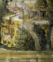 0330574 © Granger - Historical Picture ArchiveART & ARCHITECTURE.   Hunting scene, ca 1548, by Marcello Fogolino (born between 1483-1488, died 1548), fresco, Palazzo Lantieri, Gorizia, Friuli-Venezia Giulia. Italy, 16th century. Full credit: De Agostini / A. De Gregorio / Granger, NYC -- All Rights Reserved.