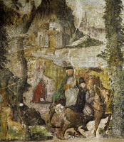 0330575 © Granger - Historical Picture ArchiveART & ARCHITECTURE.   Hunting scene, ca 1548, by Marcello Fogolino (born between 1483-1488, died 1548), fresco, Palazzo Lantieri, Gorizia, Friuli-Venezia Giulia. Italy, 16th century. Full credit: De Agostini / A. De Gregorio / Granger, NYC -- All Rights Reserved.