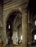 0330681 © Granger - Historical Picture ArchiveART & ARCHITECTURE.   Interior of San Salvatore dei Fieschi Basilica, Cogorno, Liguria. Italy, 13th century. Full credit: De Agostini / A. De Gregorio / Granger, NYC -- All rights