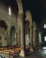 0330683 © Granger - Historical Picture ArchiveART & ARCHITECTURE.   Interior of San Salvatore dei Fieschi Basilica, Cogorno, Liguria. Italy, 13th century. Full credit: De Agostini / A. De Gregorio / Granger, NYC -- All rights