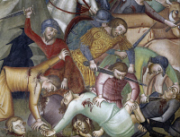 0330970 © Granger - Historical Picture ArchiveART & ARCHITECTURE.   Killing of Job's servants and abduction of the herds, scene from the Stories of the Old Testament, 1367, by Bartolo di Fredi (1330-1410), fresco, Collegiate Church of St Mary of the Assumption, San Gimignano (UNESCO World Heritage List, 1990), Tuscany. Detail. Italy, 14th century. Full credit: De Agostini / G. Nimatallah / The Granger C