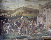 0330974 © Granger - Historical Picture ArchiveART & ARCHITECTURE.   King Christian of Denmark arriving at Malpaga Castle being greeted by Bartolomeo Colleoni, fresco attributed to Marcello Fogolino (1480-1548). Baronial Hall of Malpaga Castle, Cavernago, Bergamo. Italy, 16th century. Full credit: De Agostini Picture Library / Granger, NYC -- All Rights Reserved.
