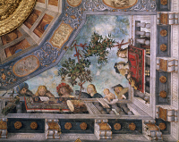 0330999 © Granger - Historical Picture ArchiveART & ARCHITECTURE.   Ladies, musicians and cupids on the balcony, detail of ceiling fresco, 1503-1506, by Garofalo (1481-1559), Treasury room, Ludovico il Moro Palace or Costabili Palace, Ferrara, Emilia-Romagna. Italy, 16th century. Full credit: De Agostini / A. De Gregorio / Granger, NYC -- All Rights Reserved.
