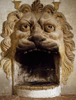 0331085 © Granger - Historical Picture ArchiveART & ARCHITECTURE.   Lion's Mask or Lions Fireplace, Villa della Torre, Fumane, Veneto. Detail. Italy, 16th century. Full credit: De Agostini / A. Dagli Orti / Granger, NYC -- All Rights Reserved.