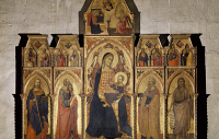 0331137 © Granger - Historical Picture ArchiveART & ARCHITECTURE.   Madonna and Child Enthroned with Saints James, Luke the Evangelist, Peter and John the Baptist, ca 1350, by Taddeo Gaddi (active in early 14th century, died in 1366), panel, Church of St John Fuorcivitas, Pistoia, Tuscany. Italy, 142th century. Full credit: De Agostini / G. Nimatallah / Granger, NYC -- All rights reserved.