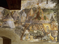 0331551 © Granger - Historical Picture ArchiveART & ARCHITECTURE.   Muzio Scaevola in the Porsenna camp, ca 1548, by Marcello Fogolino (born between 1483-1488, died 1548), fresco, Palazzo Lantieri, Gorizia, Friuli-Venezia Giulia. Italy, 16th century. Full credit: De Agostini / G. Dagli Orti / Granger, NYC -- All rights reserved.