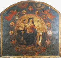 0331712 © Granger - Historical Picture ArchiveART & ARCHITECTURE.   Our Lady of the Rosary, oil painted medallion on panel, 16th century preserved in St Francis Monastery, Fondi, Lazio. Italy, 16th century. Full credit: De Agostini / S. Vannini / Granger, NYC -- All rights reserved.
