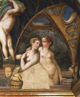 0331736 © Granger - Historical Picture ArchiveART & ARCHITECTURE.   Pair of nymphs, detail from the Myth of Diana and Actaeon, ca. 1524, by Francesco Mazzola known as Parmigianino (1503-1540), fresco, west side of the Room of Diana and Actaeon, Rocca Sanvitale, Fontanellato, near Parma, Emilia-Romagna. Italy, 16th century. Full credit: De Agostini / A. De Gregorio / Granger, NYC -- All rights reserved.