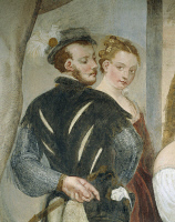 0331739 © Granger - Historical Picture ArchiveART & ARCHITECTURE.   Pair of young people, detail from Game of Cards, by Giovanni Antonio Fasolo (1530-1572), fresco, eastern wall of the Central Hall, Villa Caldogno (UNESCO World Heritage List, 1996), Caldogno, Veneto. Italy, 16th century. Full credit: De Agostini Picture Library / Granger, NYC -- All Rights Reserved.