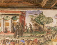 0331878 © Granger - Historical Picture ArchiveART & ARCHITECTURE.   Picture of monastic life, detail from Triumph of Jupiter, scene from Month of July, ca 1470, fresco, north wall, Hall of the Months, Palazzo Schifanoia (Palace of Joy), Ferrara, Emilia-Romagna. Italy, 15th century. Full credit: De Agostini / A. De Gregorio / Granger, NYC -- All Rights Reserved.