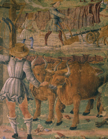 0331880 © Granger - Historical Picture ArchiveART & ARCHITECTURE.   Pictures of country life, detail from Triumph of Ceres, scene from Month of August, ca 1470, attributed to Cosimo Tura, (ca 1430-1495) and Master of Ercole, fresco, north wall, Hall of the Months, Palazzo Schifanoia (Palace of Joy), Ferrara, Emilia-Romagna. Italy, 15th century. Full credit: De Agostini / A. De Gregorio / The Granger Col