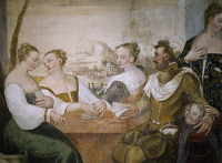 0331912 © Granger - Historical Picture ArchiveART & ARCHITECTURE.   Players at the table, detail from Game of Cards, by Giovanni Antonio Fasolo (1530-1572), fresco, eastern wall of the Central Hall, Villa Caldogno (UNESCO World Heritage List, 1996), Caldogno, Veneto. Italy, 16th century. Full credit: De Agostini Picture Library / Granger, NYC -- All Rights Reserved.