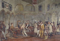 0331991 © Granger - Historical Picture ArchiveART & ARCHITECTURE.   Preparing for the feast in honor of King Christian of Denmark in the courtyard at Malpaga Castle, fresco attributed to Marcello Fogolino (1480-1548). Baronial Hall of Malpaga Castle, Cavernago, Bergamo. Italy, 16th century. Full credit: De Agostini Picture Library / Granger, NYC -- All Rights Reserved.