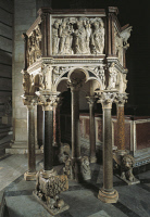 0332049 © Granger - Historical Picture ArchiveART & ARCHITECTURE.   Pulpit of the Baptistery of St John, 1255-1260, by Nicola Pisano (born between 1220 and 1225-died between 1278 and 1287), Baptistery of St John, Cathedral Square or Square of Miracles (UNESCO World Heritage List, 1987), Pisa, Tuscany. Detail. Italy, 13th century. Full credit: De Agostini / G. Nimatallah / Granger, NYC -- All rights rese