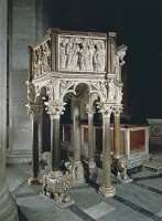 0332052 © Granger - Historical Picture ArchiveART & ARCHITECTURE.   Pulpit of the Baptistery of St John, 1255-1260, by Nicola Pisano (born between 1220 and 1225-died between 1278 and 1287), Baptistery of St John, Cathedral Square or Square of Miracles (UNESCO World Heritage List, 1987), Pisa, Tuscany. Italy, 13th century. Full credit: De Agostini / G. Nimatallah / Granger, NYC -- All rights reserved.