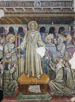 0332283 © Granger - Historical Picture ArchiveART & ARCHITECTURE.   Saint Francis handing over the three Rules, fresco, presbitery of the Church of the Chinisa, Bitonto, Apulia. Italy, 14th century. Full credit: De Agostini / A. De Gregorio / Granger, NYC -- All rights reserved.