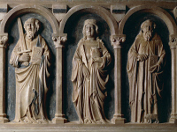 0332325 © Granger - Historical Picture ArchiveART & ARCHITECTURE.   Saints Paul, Mary Magdalene and Anthony the Abbot, detail of the sarcophagus of Filippo Sangineto, Tuscan-Neapolitan School, Church of Santa Maria della Consolazione, Altomonte, Calabria. Italy, 14th century. Full credit: De Agostini / A. De Gregorio / Granger, NYC -- All right