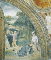 0332494 © Granger - Historical Picture ArchiveART & ARCHITECTURE.   Slaying of St Peter, detail from the Stories of St Peter Martyr, 1460, fresco by Vincenzo Foppa (1427 or 1430-1516), Portinari Chapel, Basilica of Sant'Eustorgio, Milan. Italy, 15th century. Full credit: De Agostini / A. De Gregorio / Granger, NYC -- All rights reserved.
