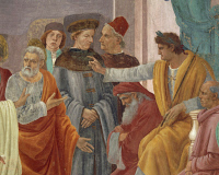 0332729 © Granger - Historical Picture ArchiveART & ARCHITECTURE.   St Peter confronts Simon Magus before Nero, by Filippino Lippi (1457-1504), detail. Frescoes, Brancacci Chapel, Church of Santa Maria del Carmine, Florence. Italy, 15th-16th century. Full credit: De Agostini / A. Dagli Orti / Granger, NYC -- All rights reserved.