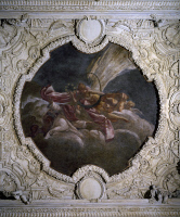 0332914 © Granger - Historical Picture ArchiveART & ARCHITECTURE.   Stuccoes by Paolo Frisoni (born 1645) and fresco by Jacopo da Vignola (1507-1573), detail from the Alcove, 1686-1688, Palazzo Farnese, Piacenza, Emilia-Romagna. Italy, 17th century. Full credit: De Agostini / A. De Gregorio / Granger, NYC -- All rights reserved.