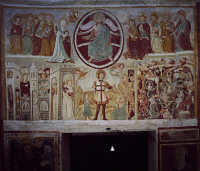 0332988 © Granger - Historical Picture ArchiveART & ARCHITECTURE.   The 15th-16th century frescoes in the Baptistery of St John of the Church of Santa Maria Extra Moenia, Antrodoco. Italy, 15th-16th century. Full credit: De Agostini / A. De Gregorio / Granger, NYC -- All rights reserve