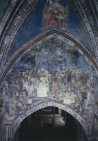 0333152 © Granger - Historical Picture ArchiveART & ARCHITECTURE.   The Crucifixion, 14th century fresco by the Master Trecentesco of Sacro Specol. Upper Church of Sacro Speco Monastery, Subiaco. Italy, 14th century. Full credit: De Agostini / G. Nimatallah / Granger, NYC -- All rights