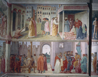 0333316 © Granger - Historical Picture ArchiveART & ARCHITECTURE.   The healing of the cripple and Raising of Tabitha, by Masolino da Panicale (1383-1440). St Peter confronts Simon Magus before Nero, and The Martyrdom of St Peter, by Filippino Lippi (1457-1504). Frescoes, Brancacci Chapel, Church of Santa Maria del Carmine, Florence. Italy, 15th-16th century. Full credit: De Agostini / A. Dagli Orti / T