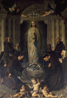 0333333 © Granger - Historical Picture ArchiveART & ARCHITECTURE.   The Immaculate Conception with Saints Lucy, Agnes, Bonaventure and Bernard, 1879, by Enrico Reffo (1831-1917). Church of St Thomas, Turin. Italy, 19th century. Full credit: De Agostini / F. Gallino / Granger, NYC -- All Rights Reserved.