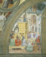 0333428 © Granger - Historical Picture ArchiveART & ARCHITECTURE.   The miracle of the cloud, detail from the stories of St Peter Martyr, 1460, fresco by Vincenzo Foppa (1427 or 1430-1516), Portinari Chapel, Basilica of Sant'Eustorgio, Milan. Italy, 15th century. Full credit: De Agostini / A. De Gregorio / Granger, NYC -- All rights reserved.