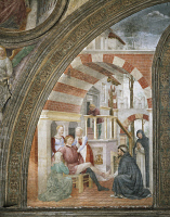0333431 © Granger - Historical Picture ArchiveART & ARCHITECTURE.   The miracle of the healed foot, 1468, a fresco by Vincenzo Foppa (1427-1515), Portinari Chapel, Basilica of Sant'Eustorgio, Milan. Italy, 15th century. Full credit: De Agostini / M. Carrieri / Granger, NYC -- All right