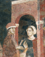 0333642 © Granger - Historical Picture ArchiveART & ARCHITECTURE.   The ups and downs of a young man's initiations into the mysteries of love, 1305-1311, by Memmo di Filippuccio (ca 1250-ca 1325), fresco, Chambers of the podesta, Peoples' Palace, San Gimignano (UNESCO World Heritage List, 1990), Tuscany. Italy, 14th century. Full credit: De Agostini / G. Nimatallah / Granger, NYC -- All rights reserved.