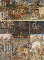 0333714 © Granger - Historical Picture ArchiveART & ARCHITECTURE.   Three parallel registers of Month of July, ca 1470, fresco, north wall, Hall of the Months, Palazzo Schifanoia (Palace of Joy), Ferrara, Emilia-Romagna. Italy, 15th century. Full credit: De Agostini / A. De Gregorio / Granger, NYC -- All rights reserved.
