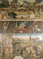 0333715 © Granger - Historical Picture ArchiveART & ARCHITECTURE.   Three parallel registers of Month of July, ca 1470, fresco, north wall, Hall of the Months, Palazzo Schifanoia (Palace of Joy), Ferrara, Emilia-Romagna. Italy, 15th century. Full credit: De Agostini / A. De Gregorio / Granger, NYC -- All rights reserved.