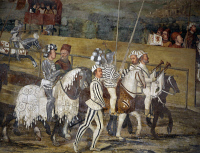 0333784 © Granger - Historical Picture ArchiveART & ARCHITECTURE.   Tournament in honor of King Christian of Denmark, detail from a fresco attributed to Marcello Fogolino (1480-1548). Baronial Hall of Malpaga Castle, Cavernago, Bergamo. Italy, 16th century. Full credit: De Agostini Picture Library / Granger, NYC -- All rights reserved.