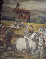 0333785 © Granger - Historical Picture ArchiveART & ARCHITECTURE.   Tournament in honor of King Christian of Denmark, detail from a fresco attributed to Marcello Fogolino (1480-1548). Baronial Hall of Malpaga Castle, Cavernago, Bergamo. Italy, 16th century. Full credit: De Agostini Picture Library / Granger, NYC -- All rights reserved.