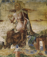 0334064 © Granger - Historical Picture ArchiveART & ARCHITECTURE.   Vulcan, detail from Triumph of Vulcan, scene from Month of September, attributed to Ercole de'Roberti (ca 1455-1496), fresco, north wall, Hall of the Months, Palazzo Schifanoia (Palace of Joy), Ferrara, Emilia-Romagna. Italy, 15th century. Full credit: De Agostini / A. De Gregorio / Granger, NYC -- All rights reserved.