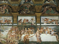 0334088 © Granger - Historical Picture ArchiveART & ARCHITECTURE.   Wedding banquet-feast of the gods, fresco created in 1526-1529 by Giulio Romano (ca 1499-1546), west wall of the Hall of Cupid and Psyche, Palazzo Te, Mantua (UNESCO World Heritage List, 2008). Italy, 16th century. Full credit: De Agostini / G. Dagli Orti / Granger, NYC -- All Rights Reserved.