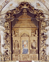 0334129 © Granger - Historical Picture ArchiveART & ARCHITECTURE.   Wooden altarpiece from 1516-1526 by Giovan Angelo Maino as designed by Ferrari and decorated by Fermo and Stella, Shrine of the Assumption, Morbegno. Italy, 16th century. Full credit: De Agostini / A. De Gregorio / Granger, NYC -- All Rights Reserved.