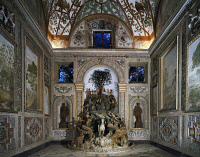 0334161 © Granger - Historical Picture ArchiveART & ARCHITECTURE.   Wooden group depicting Apollo, the Muses and Pegasus on Parnassus, detail. The Room of Mount Parnassus at Villa Aldobrandini, Frascati. Italy, 16th-17th century. Full credit: De Agostini / A. De Gregorio / Granger, NYC -- All Rights Reserved.