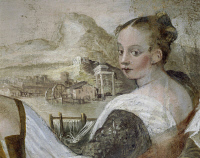 0334173 © Granger - Historical Picture ArchiveART & ARCHITECTURE.   Young lady, detail from Game of Cards, by Giovanni Antonio Fasolo (1530-1572), fresco, eastern wall of the Central Hall, Villa Caldogno (UNESCO World Heritage List, 1996), Caldogno, Veneto. Italy, 16th century. Full credit: De Agostini Picture Library / Granger, NYC -- All righ