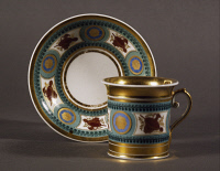 0335075 © Granger - Historical Picture ArchiveDECORATIVE ARTS.   Cup and saucer, 1814, porcelain, Moscow manufacture. Russia, 19th century. Full credit: De Agostini / A. Dagli Orti / Granger, NYC -- All rights reserved.