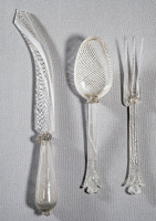 0335164 © Granger - Historical Picture ArchiveDECORATIVE ARTS.   Cutlery set in glass and filigree, Murano Glass Factory, Venice. Italy, 18th century. Full credit: De Agostini Picture Library / Granger, NYC -- All rights reser