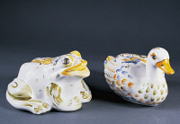 0335641 © Granger - Historical Picture ArchiveDECORATIVE ARTS.   Frog and duckling, ceramic, Aulagnet-Baratta Studio, Moustiers-Sainte-Marie, Provence-Alpes-Cote d'Azur. France, 20th century. Full credit: De Agostini / G. Dagli Orti / Granger, NYC -- All rights reserved.