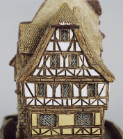 0336435 © Granger - Historical Picture ArchiveDECORATIVE ARTS.   Nuernberger Buergerhaus, miniature, ceramic, Lilliput Lane manufacture, Carlisle, Cumbria. Detail. England, 20th century. Full credit: De Agostini / G. Cigolini / Granger, NYC -- All rights reserved.