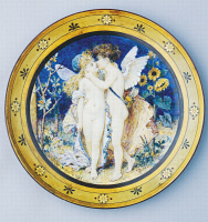 0336824 © Granger - Historical Picture ArchiveDECORATIVE ARTS.   Plate decorated with angels, by William Stephen Coleman (1829-1906), ceramic, Royal Minton manufacture, Staffordshire. England, 19th century. Full credit: De Agostini / S. Vannini / Granger, NYC -- All rights reserved.